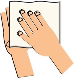 ⑤ペーパータオル等で手を拭き、水分をしっかり拭き取る(タオル等の共用はしない)